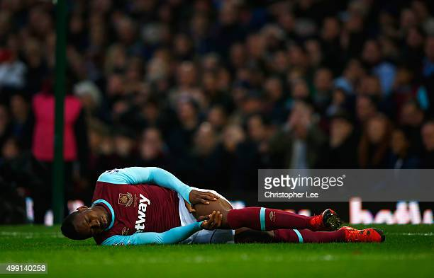 Diafra Sakho of West Ham United is injured during the Barclays Premier League match between West Ham United and West Bromwich Albion at Boleyn Ground...