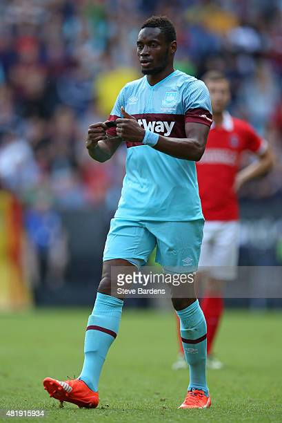 Diafra Sakho of West Ham United removes the captains armband during the pre season friendly match between Charlton Athletic and West Ham United at...