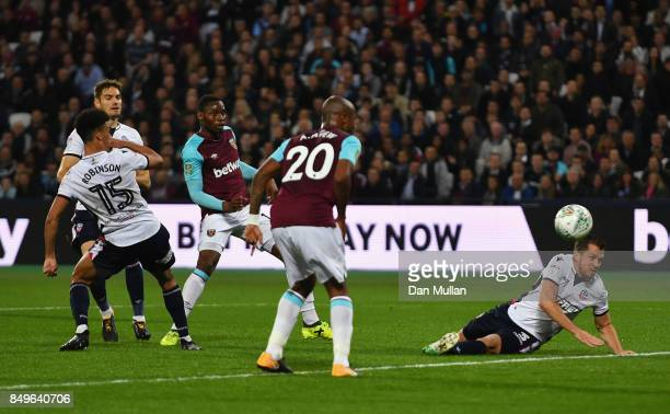 Diafra Sakho of West Ham United scores his sides second goal during the Carabao Cup Third Round match between West Ham United and Bolton Wanderers at...