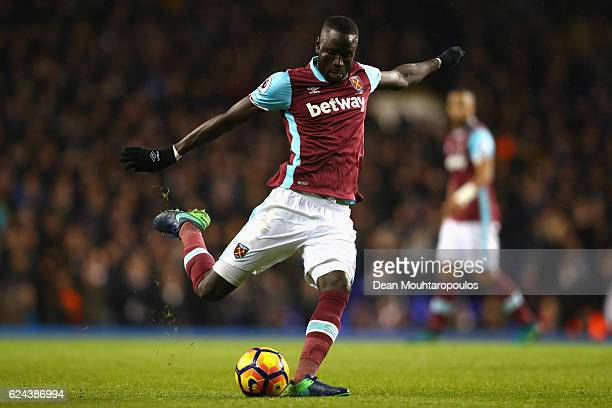 Diafra Sakho of West Ham United shoots during the Premier League match between Tottenham Hotspur and West Ham United at White Hart Lane on November...