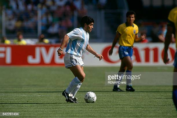 Diago Maradona in action during a round of 16 match of the 1990 FIFA World Cup against Brazil Argentina won 10
