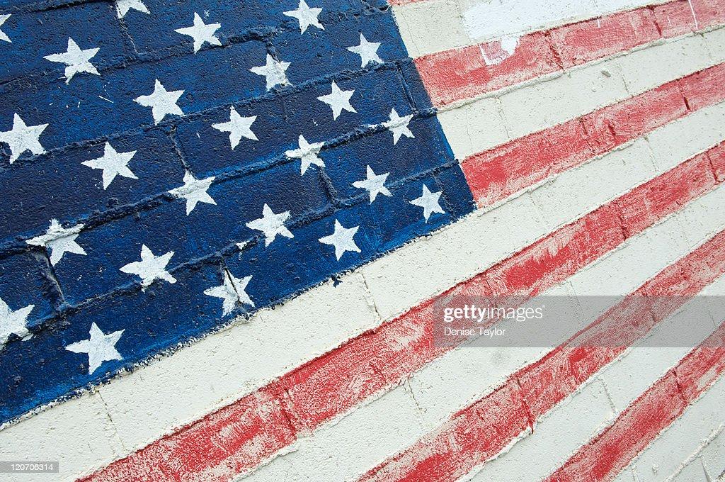 Diagonal brick American flag