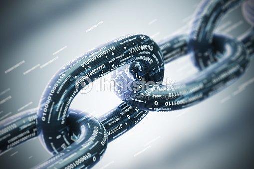 Diagonal chain, a blockchain concept, gray closeup : Stock Photo