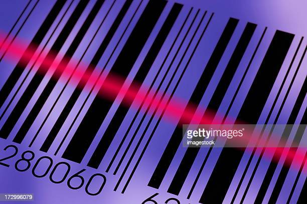 Diagonal photo of a barcode being read by the reader