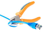 Diagonal pliers cutting lan network computer cable, 3D rendering