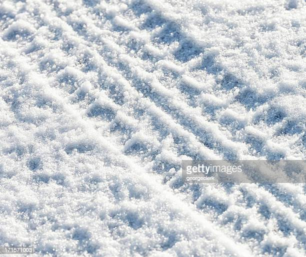 Diagonal Tyre Track in Snow