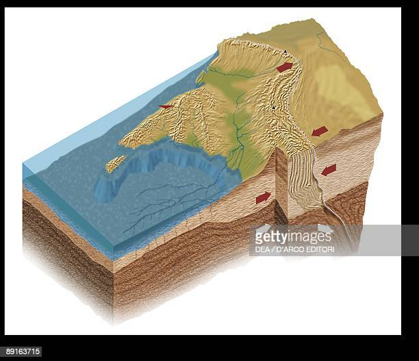 Diagram showing collision of Indian and Eurasian plates leading to formation of Himalayas