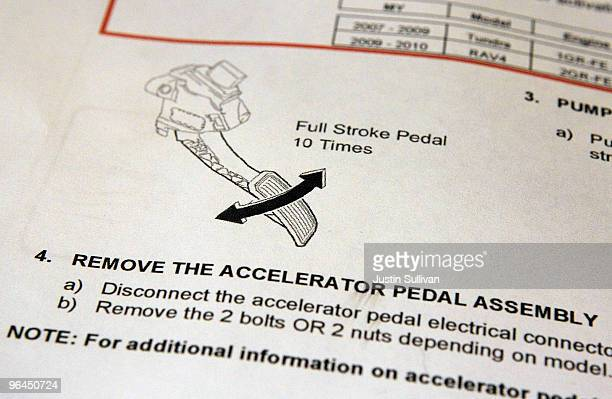 A diagram shows how to repair recalled accelerator pedals at City Toyota February 5 2010 in Daly City California Toyota Motor Corp President Akio...