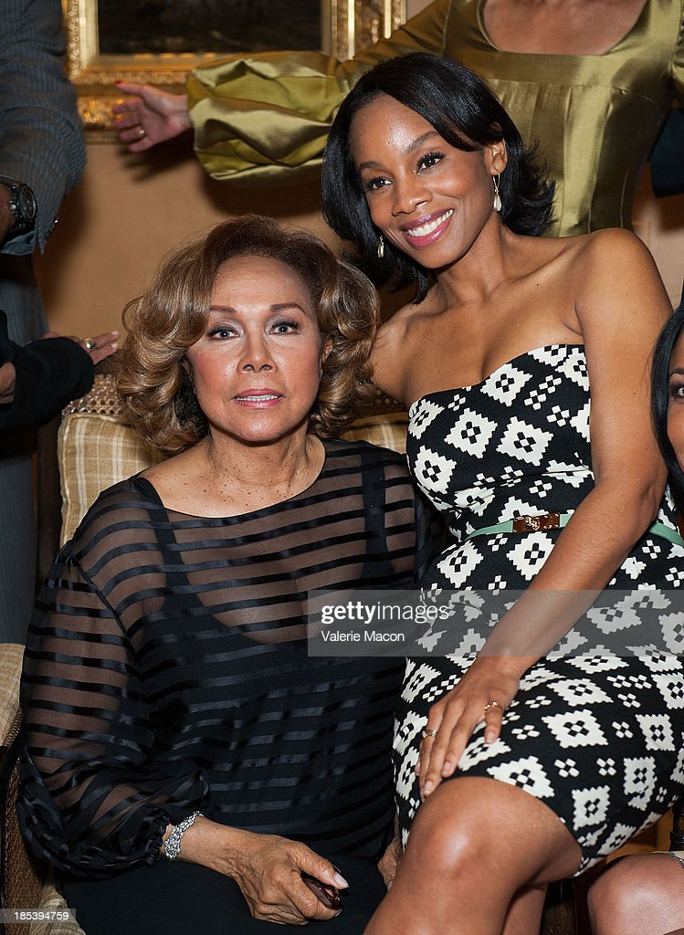 Diahann Carroll and Anika Noni Rose attends House of Flowers Dinner Honoring Diahann Carroll and Cheryl Boone Isaacs at Tracey Edmonds house on October 19, 2013 in Beverly Hills, California.