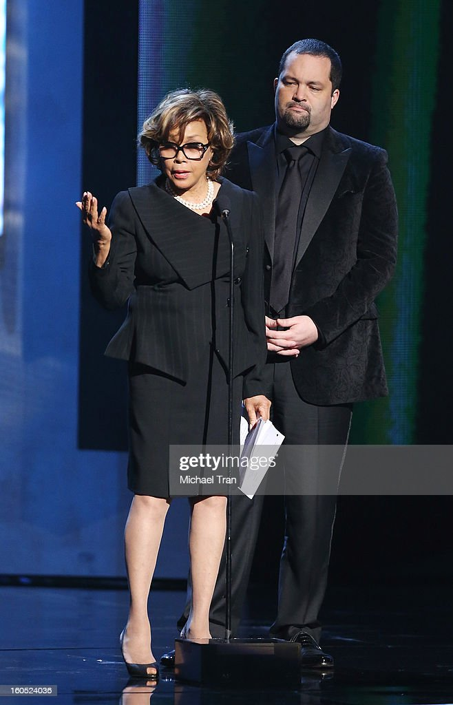 Diahann Carroll and Benjamin Jealous speak onstage at the 44th NAACP Image Awards - show held at The Shrine Auditorium on February 1, 2013 in Los Angeles, California.