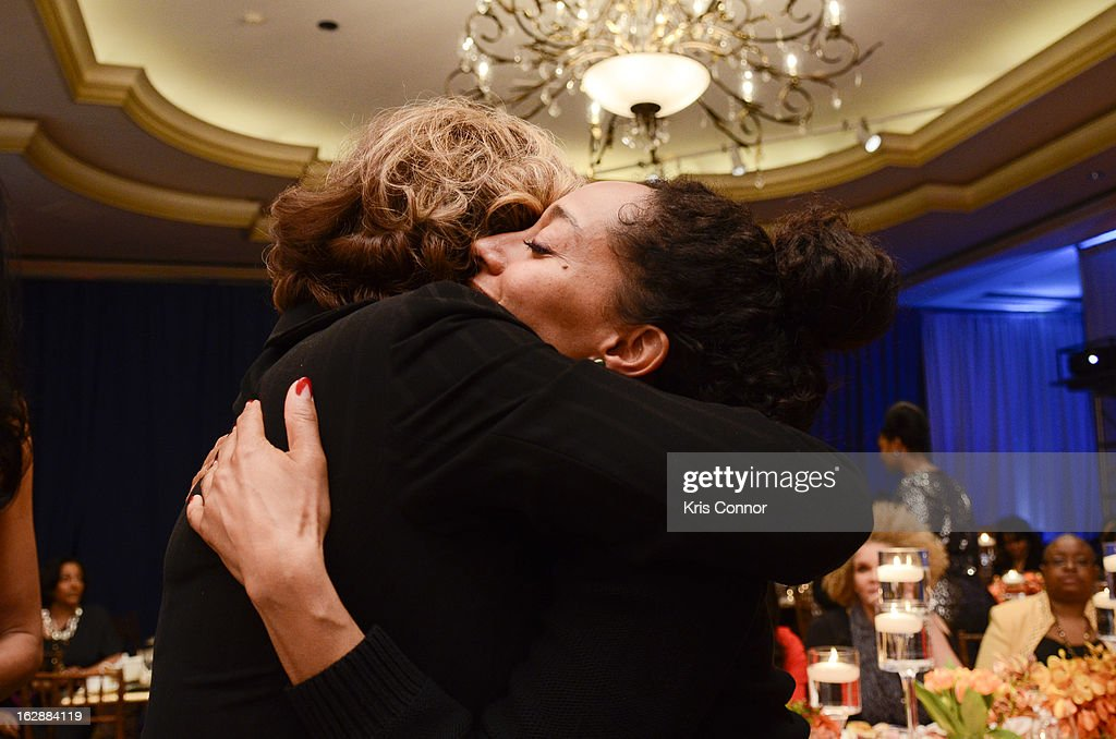 <a gi-track='captionPersonalityLinkClicked' href=/galleries/search?phrase=Diahann+Carroll&family=editorial&specificpeople=240336 ng-click='$event.stopPropagation()'>Diahann Carroll</a> and Tracee Ross hug during cocktails and dinner for Leading Women Defined at Ritz Carlton Hotel on February 28, 2013 in Washington, DC.