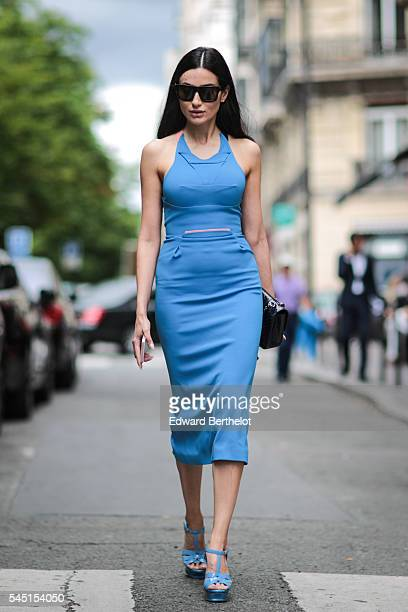 Diala Makki is seen after the Stephane Rolland show during Paris Fashion Week Haute Couture F/W 2016/2017 on July 5 2016 in Paris France