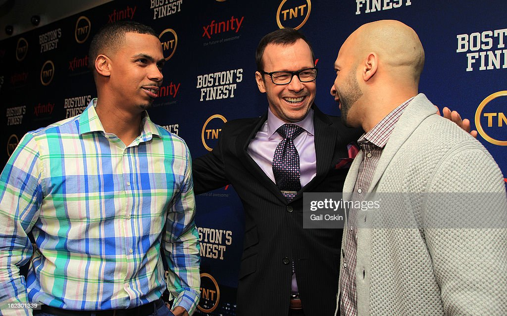 Diamantino Araujo, Donnie Wahlberg and Manny Canuto attend TNT's 'Boston's Finest' premiere screening at The Revere Hotel on February 20, 2013 in Boston, Massachusetts.