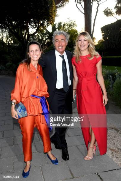 Diamara Parodi Massimo Giletti and Mia Ceran attend McKim Medal Gala at Villa Aurelia on June 7 2017 in Rome Italy