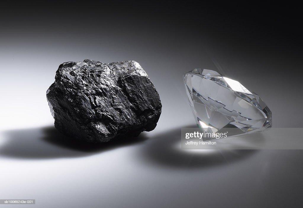 Diamond and piece of coal