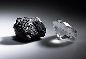 Diamond and piece of coal
