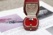 A diamond and sapphire engagement ring given in 1796 by Napoleon Bonaparte to Josephine de Beauharnais is displayed on a table on March 22 2013 in...