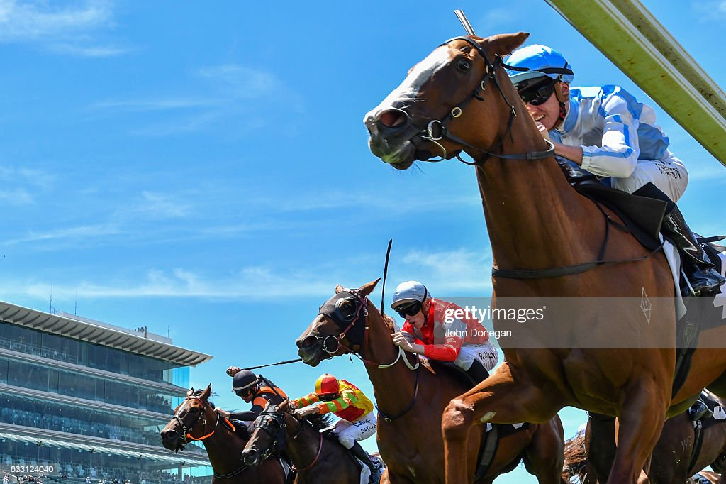 Diamond Baroness ridden by Ben E Thompson wins the Owner.racing.com Handicap at Flemington Racecourse on January 28, 2017 in Flemington, Australia.