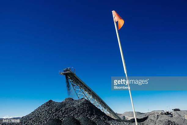 Diamond bearing rock ore also known as kimberlite falls from a conveyor belt into a storage area at the Letseng diamond mine operated by Gem Diamonds...