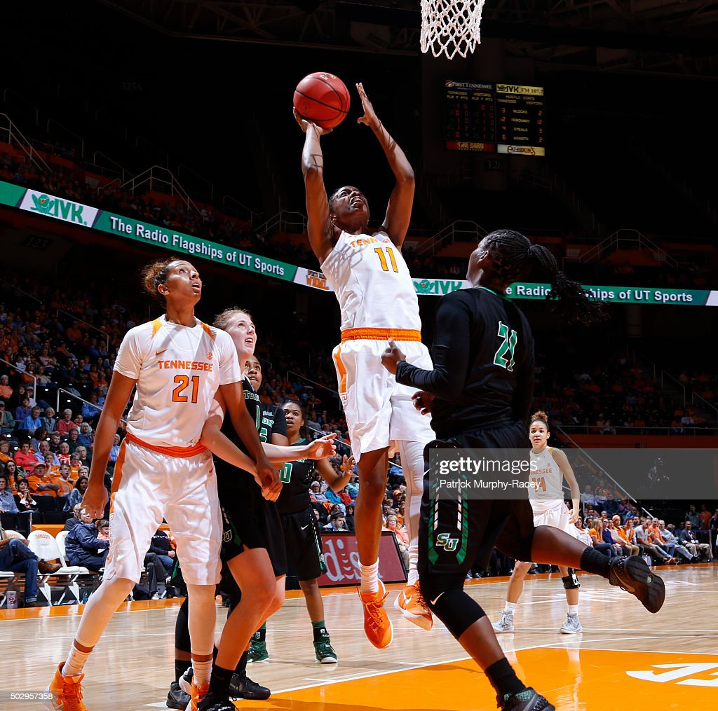 Diamond DeShields of the Tennessee Lady Volunteers shoots against Myka JohnsonMatthews of the Stetson Hatters in a game at ThompsonBoling Arena on...