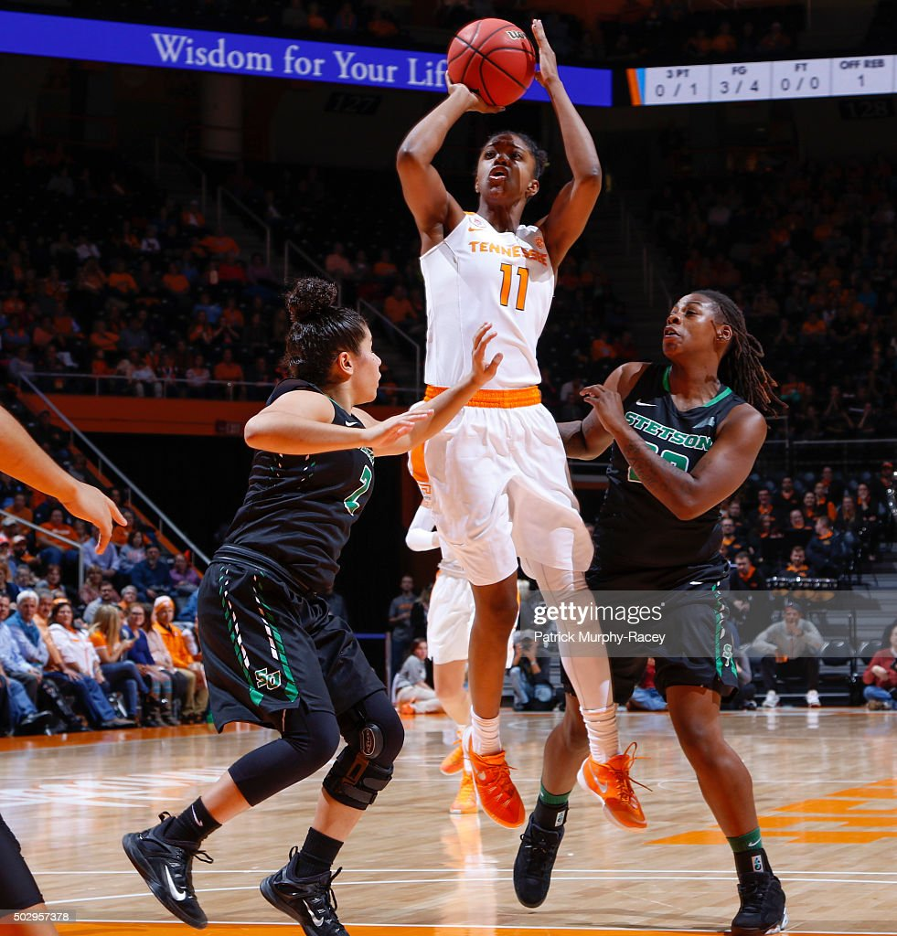 Diamond DeShields of the Tennessee Lady Volunteers shoots against McKenna Beach of the Stetson Hatters in a game at ThompsonBoling Arena on December...