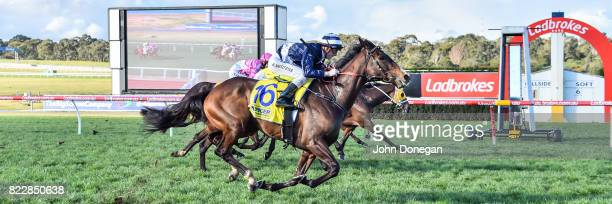 Diamond Grace ridden by Beau Mertens wins the Spicer Thoroughbreds Handicap at Ladbrokes Park Hillside Racecourse on July 26 2017 in Springvale...