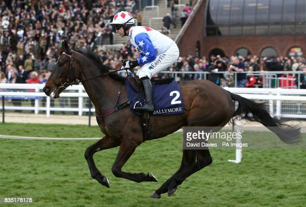 Diamond Harry ridden by Timmy Murphy going to post prior to the Ballymore Novices' Hurdle