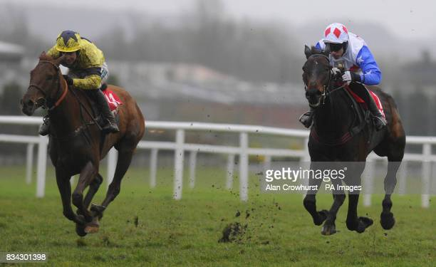Diamond Harry ridden by Timmy Murphy win The DBS Spring Sales Bumper Standard Open from Shalone and jockey Gerald Tumelty at Newbury Racecourse