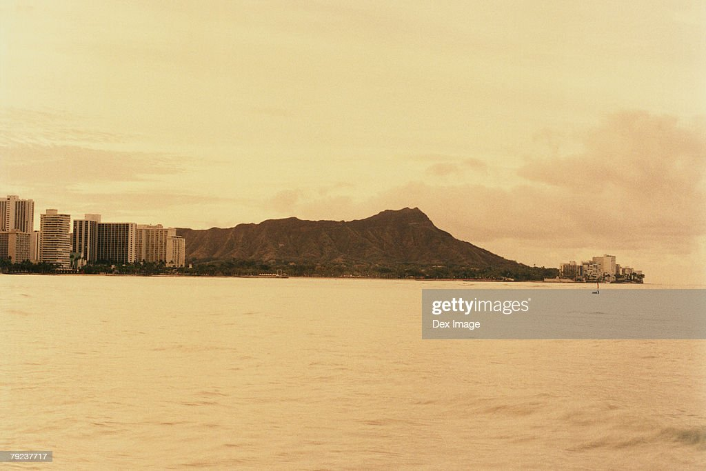 Diamond Head at sunset, Oahu, Hawaii, USA : Stock Photo