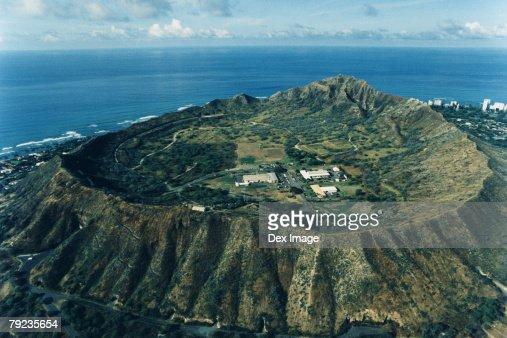 Diamond Head, Oahu, Hawaii, elevated view : Stock Photo