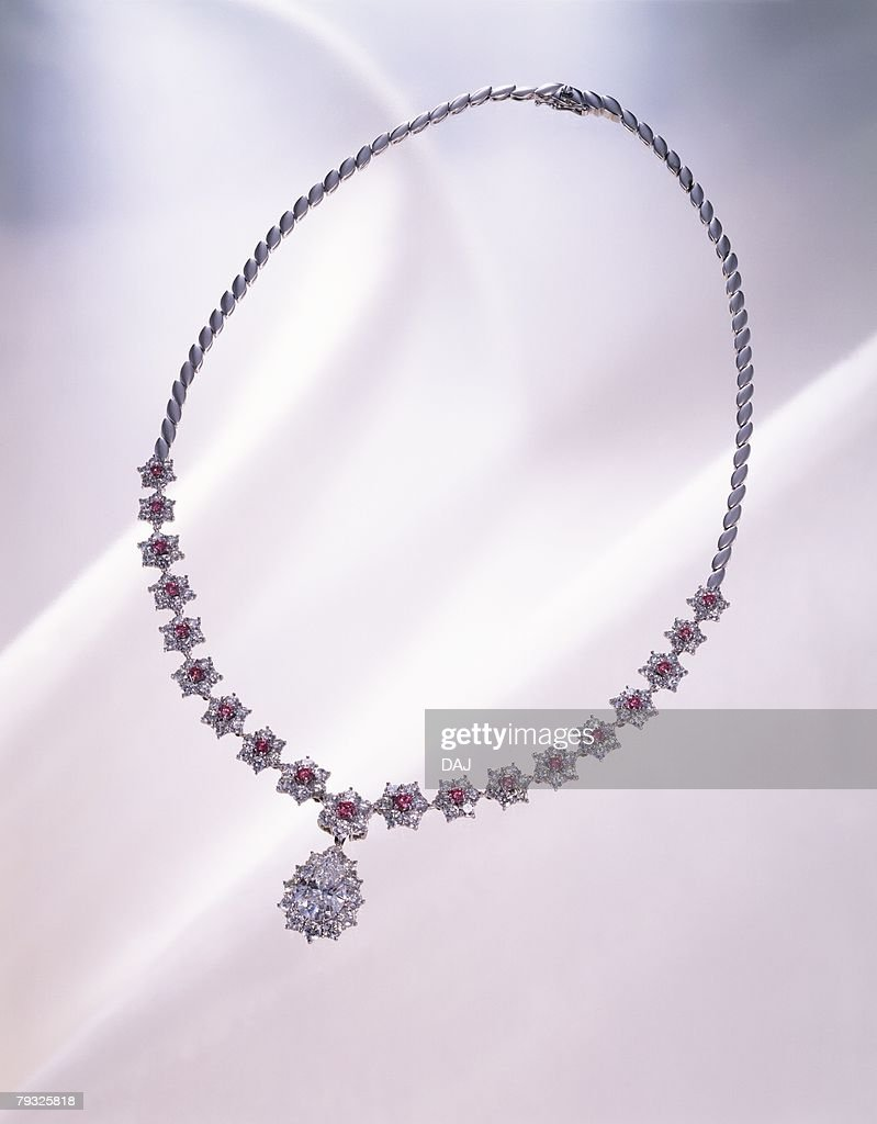 Diamond necklace, high angle view, white background : Stock Photo