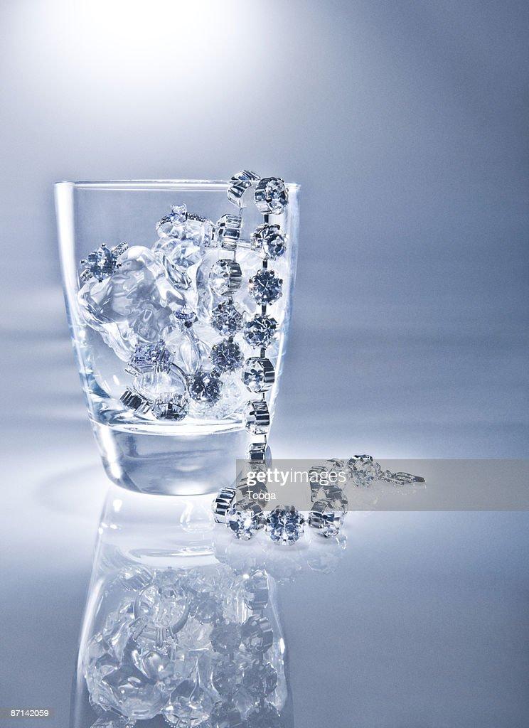 Diamond necklace on ice   : Stock Photo
