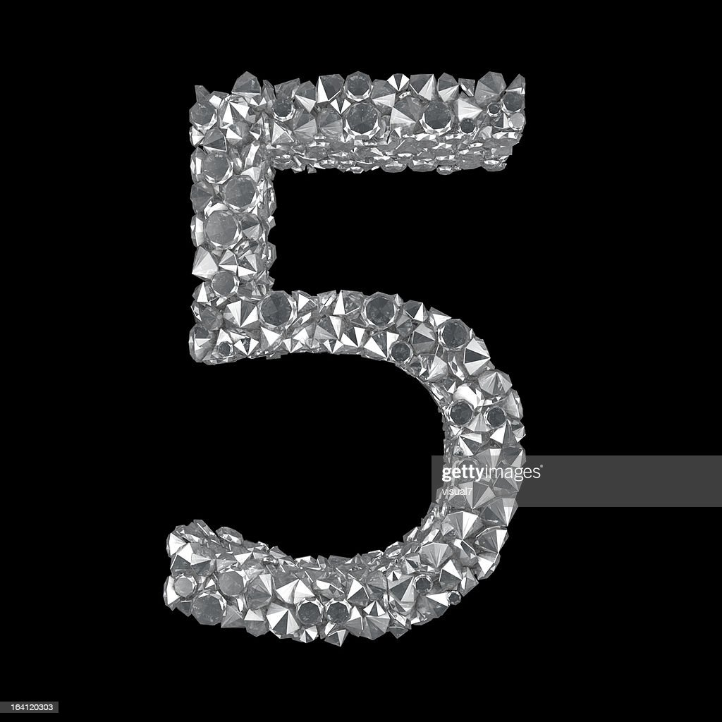 Diamond Number 5 Stock Illustration