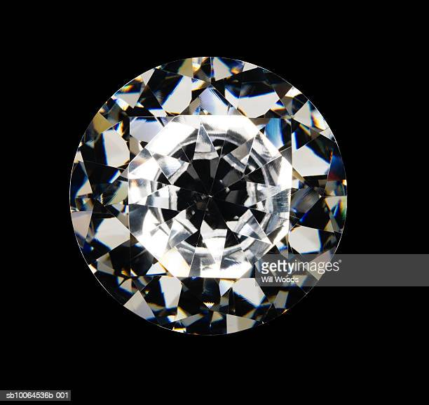 Diamond on black background, overhead view