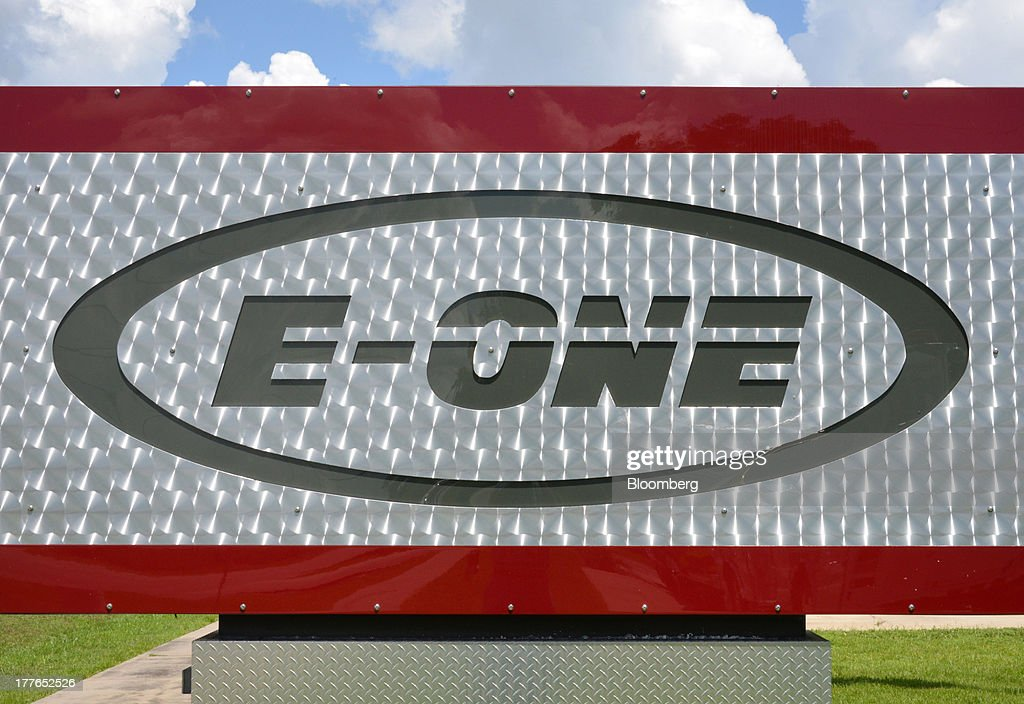 A diamond plated marquee with the E-ONE Inc. logo sits outside of the company's factory, on Tuesday, Aug. 20, 2013, in Ocala, Florida, U.S. The U.S. Census Bureau is scheduled to release durable goods figures on Aug. 26. Photographer: Mark Elias/Bloomberg via Getty Images