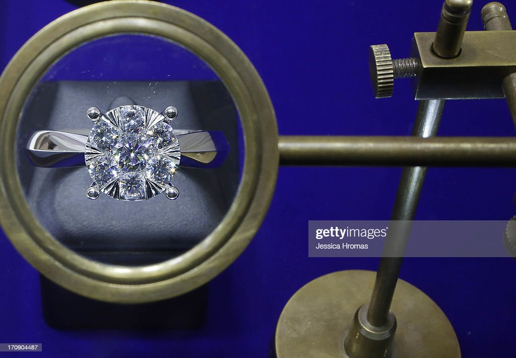 A diamond ring is on display, the ring is in a snowflake style with a total weight of 7 karts, at the KTL jewellery stand at the Hong Kong Jewellery and Gem Fair on June 20, 2013 in Hong Kong, Hong Kong. The June Hong Kong Jewellery & Gem Fair runs from June 20 - 23.