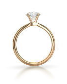 Diamond ring with clipping path - isolated on white background