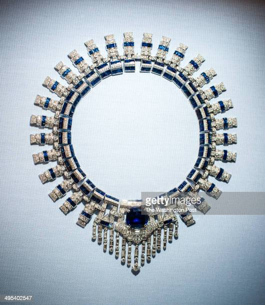 A diamond sapphire and platinum necklace by Cartier on display at the museum Hillwood Estate and Museum Board President Ellen Charles granddaughter...