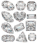 Diamond shapes isolated on white. 3d illustration.