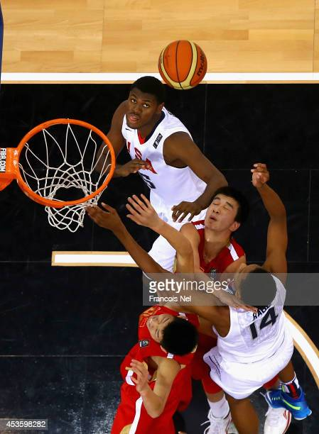 Diamond Stone and Ivan Rabb of the United States competes for the rebound during the FIBA U17 World Championships QuarterFinal match between China...