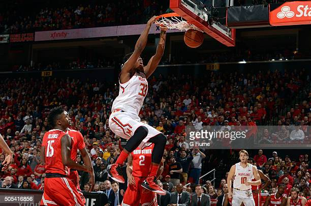 Diamond Stone of the Maryland Terrapins dunks the ball against the Ohio State Buckeyes at Xfinity Center on January 16 2016 in College Park Maryland