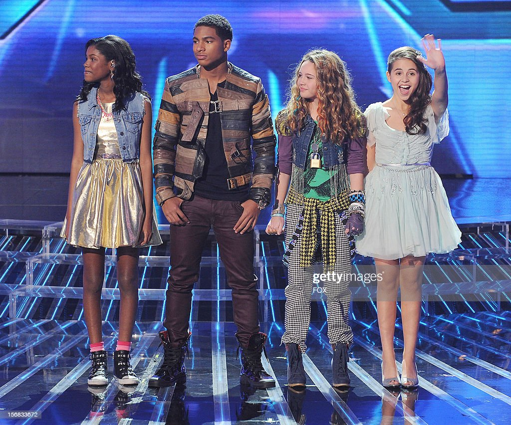 Diamond White, Arin Ray, Beatrice Miller and Carly Rose Sonenclar onstage at FOX's 'The X Factor' Season 2 Top 10 Live Performance Show on November 21, 2012 in Hollywood, California.