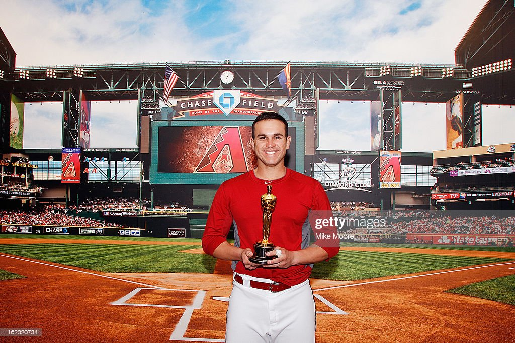 Diamondbacks player Miguel Montero poses with the Oscar during the FirstEver Oscar Roadtrip on February 21 2013 in Phoenix Az