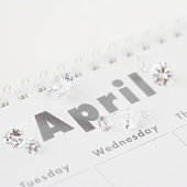 Diamonds on April page of calendar