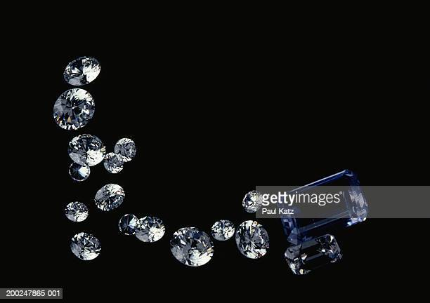 Diamonds on black background, (Close-up)