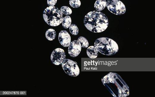 Diamonds on black background, (Close-up)