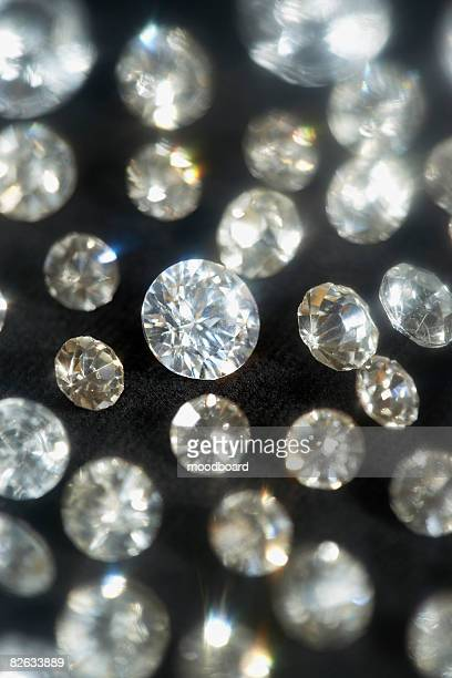 Diamonds on black background, selective focus