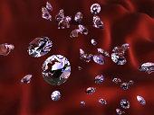 Diamonds on red silk