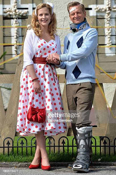 Diana Amft and Michael Kessler pose during a photocall on set of 'Die Vampirschwestern 2' at Haus Tepes on September 12 2013 in Herne Germany