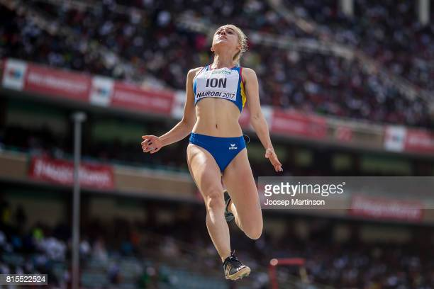 Diana Ana Maria Ion of Romenia competes in the girls long jump during day 5 of the IAAF U18 World Championships at Moi International Sports Centre...